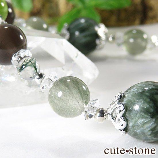 【緑の王】 セラフィナイト アクチノライトインクォーツ ペリドット レインボーオブシディアン モスアゲートのブレスレットの写真1 cute stone