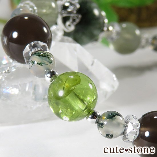 【緑の王】 セラフィナイト アクチノライトインクォーツ ペリドット レインボーオブシディアン モスアゲートのブレスレットの写真2 cute stone