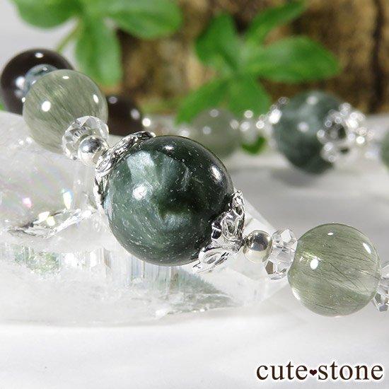 【緑の王】 セラフィナイト アクチノライトインクォーツ ペリドット レインボーオブシディアン モスアゲートのブレスレットの写真3 cute stone