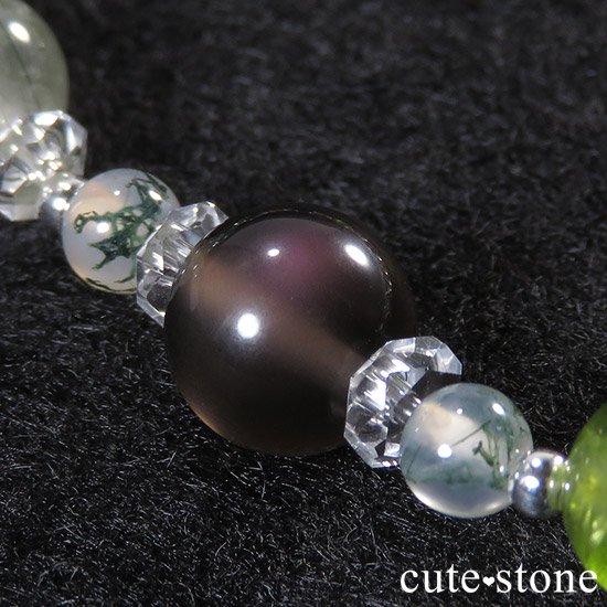 【緑の王】 セラフィナイト アクチノライトインクォーツ ペリドット レインボーオブシディアン モスアゲートのブレスレットの写真6 cute stone