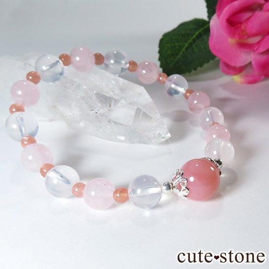 【pure】 ピンクオパール K2ムーンクォーツ モルガナイト インカローズのブレスレットの写真2 cute stone