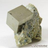 パイライトの母岩付き原石(キュービックパイライト) 43gの画像
