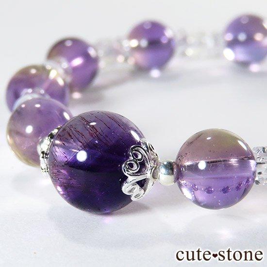 【藤色の雫】 バイカラーアメジスト アメトリン レインボームーンストーンのブレスレットの写真1 cute stone
