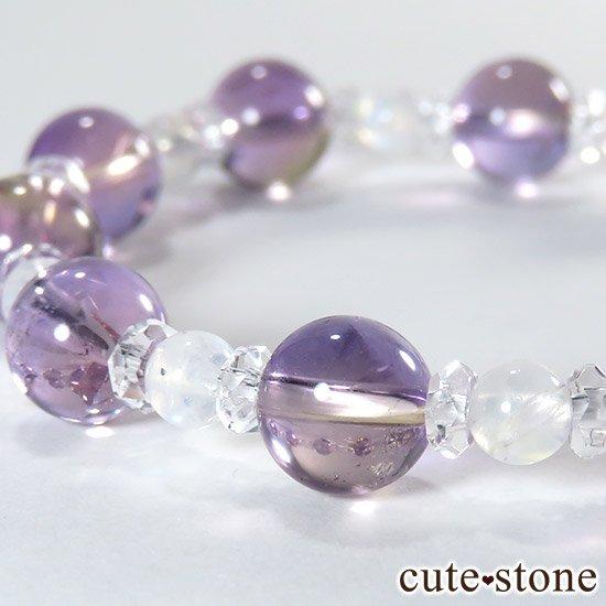 【藤色の雫】 バイカラーアメジスト アメトリン レインボームーンストーンのブレスレットの写真3 cute stone