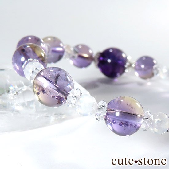 【藤色の雫】 バイカラーアメジスト アメトリン レインボームーンストーンのブレスレットの写真4 cute stone