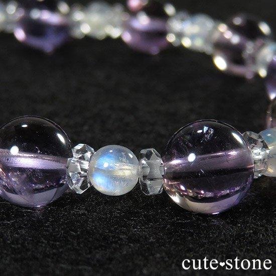 【藤色の雫】 バイカラーアメジスト アメトリン レインボームーンストーンのブレスレットの写真5 cute stone