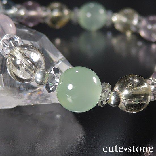 【COLORFUL CANDY】 アイリスクォーツ グリーンカルサイト ブルートパーズ ect のブレスレットの写真5 cute stone