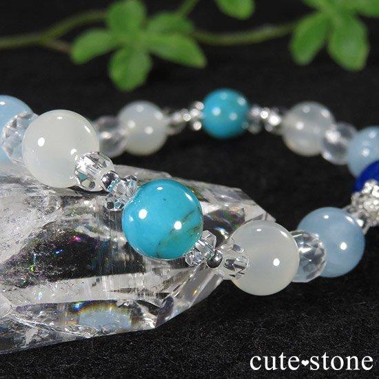 【蒼天の月】 ラピスラズリ アクアマリン ターコイズ ホワイトムーンストーンのブレスレットの写真2 cute stone
