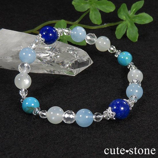 【蒼天の月】 ラピスラズリ アクアマリン ターコイズ ホワイトムーンストーンのブレスレットの写真3 cute stone