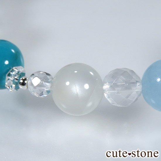 【蒼天の月】 ラピスラズリ アクアマリン ターコイズ ホワイトムーンストーンのブレスレットの写真4 cute stone