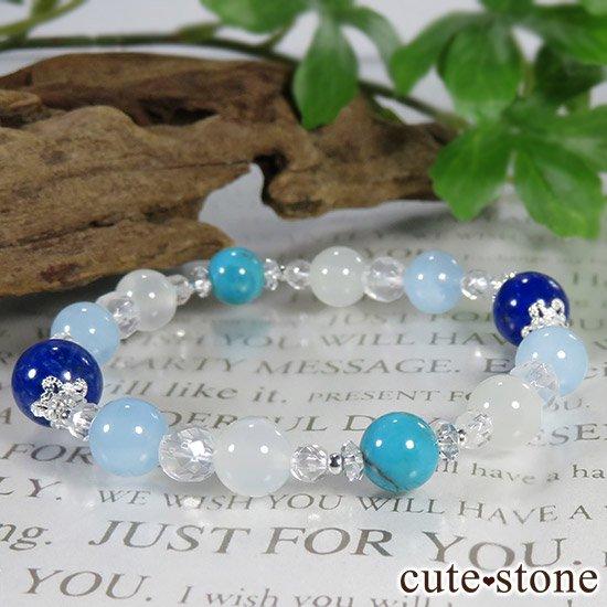【蒼天の月】 ラピスラズリ アクアマリン ターコイズ ホワイトムーンストーンのブレスレットの写真6 cute stone