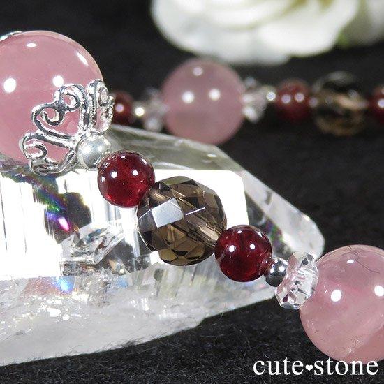 【Bitter Love】 ディープローズクォーツ ガーネット スモーキークォーツのブレスレットの写真5 cute stone
