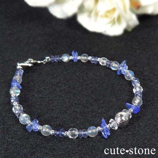 【銀河の輝き】ムオニナルスタ隕石 ラブラドライト タンザナイト アイオライト 水晶のブレスレットの写真0 cute stone