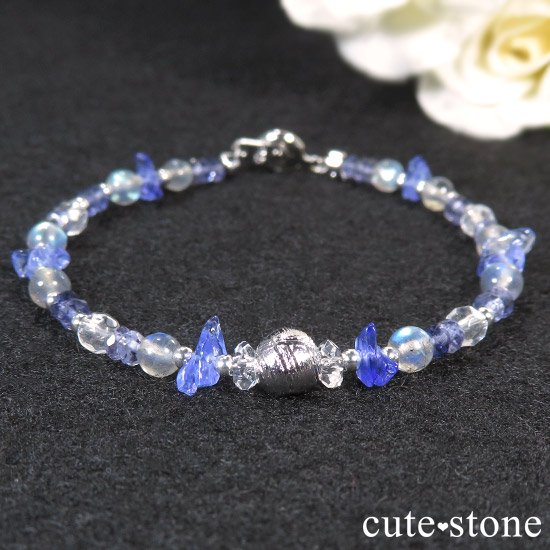 【銀河の輝き】ムオニナルスタ隕石 ラブラドライト タンザナイト アイオライト 水晶のブレスレットの写真1 cute stone