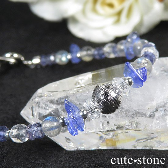 【銀河の輝き】ムオニナルスタ隕石 ラブラドライト タンザナイト アイオライト 水晶のブレスレットの写真2 cute stone