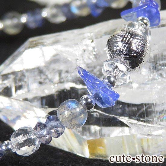 【銀河の輝き】ムオニナルスタ隕石 ラブラドライト タンザナイト アイオライト 水晶のブレスレットの写真3 cute stone