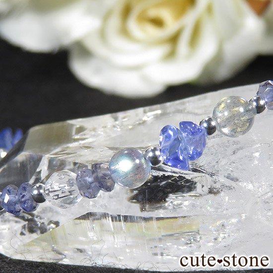 【銀河の輝き】ムオニナルスタ隕石 ラブラドライト タンザナイト アイオライト 水晶のブレスレットの写真4 cute stone