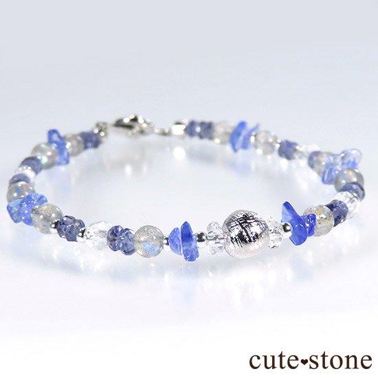 【銀河の輝き】ムオニナルスタ隕石 ラブラドライト タンザナイト アイオライト 水晶のブレスレットの写真5 cute stone
