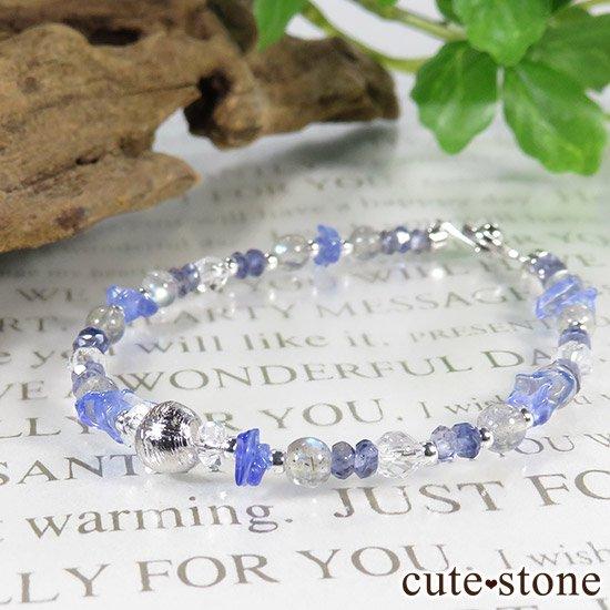【銀河の輝き】ムオニナルスタ隕石 ラブラドライト タンザナイト アイオライト 水晶のブレスレットの写真6 cute stone