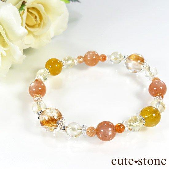【太陽のかけら】 オレンジゴールドルチル ヘリオドール オレンジムーンストーン サンストーン シトリンのブレスレット
