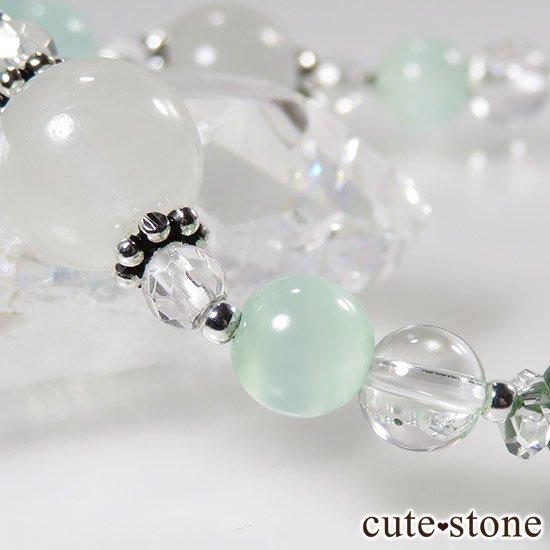【新芽の季節】 翡翠 クロムダイオプサイト グリーンカルサイト 水晶のブレスレットの写真4 cute stone