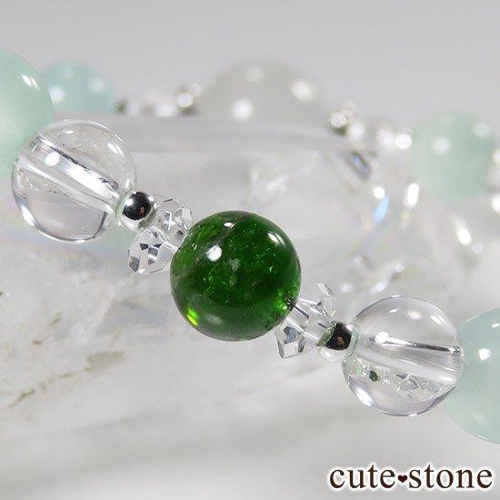 【新芽の季節】 翡翠 クロムダイオプサイト グリーンカルサイト 水晶のブレスレットの写真5 cute stone