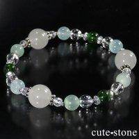 【新芽の季節】 翡翠 クロムダイオプサイト グリーンカルサイト 水晶のブレスレットの画像
