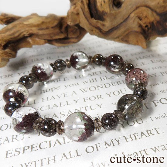 【GAIA】 ガーデンクォーツ ブラウンルチル スモーキークォーツのブレスレットの写真4 cute stone
