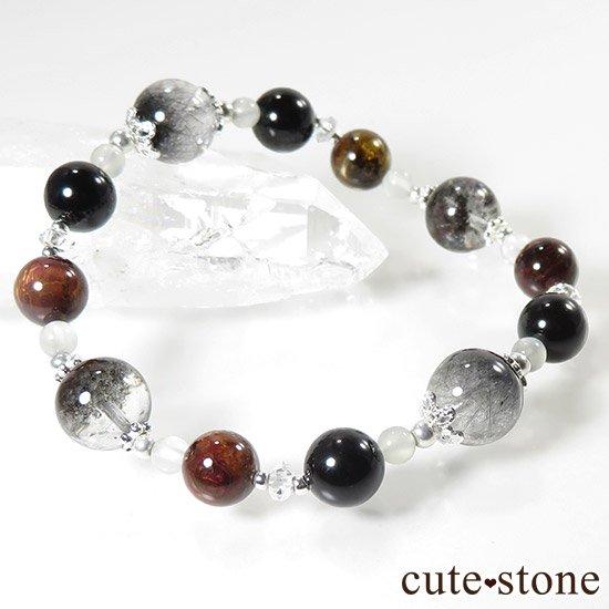 【星が降る夜】 アンカンガイトインクォーツ ガーデンクォーツ ピーターサイト テクタイト ホワイトムーンストーン 水晶のブレスレットの写真1 cute stone