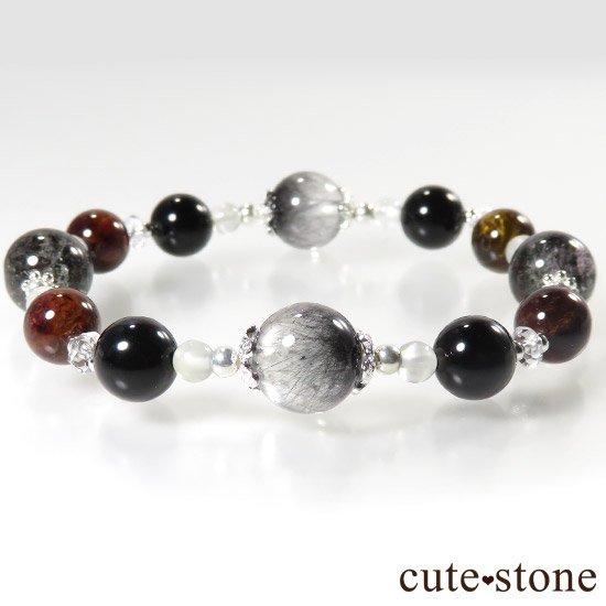 【星が降る夜】 アンカンガイトインクォーツ ガーデンクォーツ ピーターサイト テクタイト ホワイトムーンストーン 水晶のブレスレットの写真2 cute stone