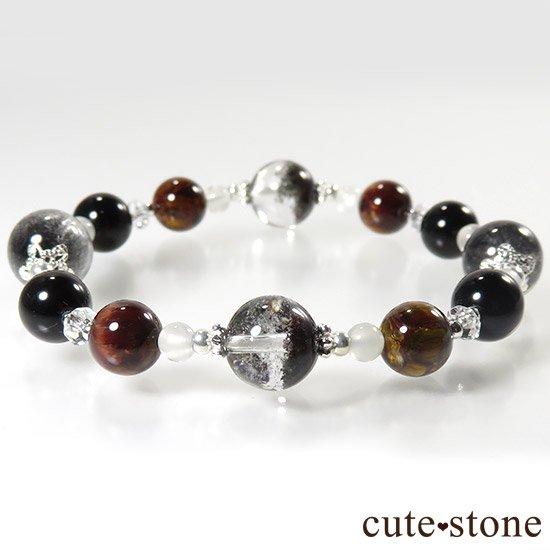 【星が降る夜】 アンカンガイトインクォーツ ガーデンクォーツ ピーターサイト テクタイト ホワイトムーンストーン 水晶のブレスレットの写真3 cute stone
