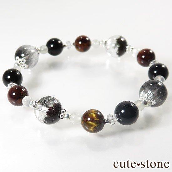 【星が降る夜】 アンカンガイトインクォーツ ガーデンクォーツ ピーターサイト テクタイト ホワイトムーンストーン 水晶のブレスレットの写真4 cute stone