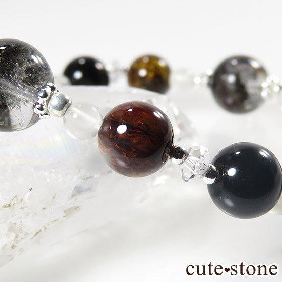 【星が降る夜】 アンカンガイトインクォーツ ガーデンクォーツ ピーターサイト テクタイト ホワイトムーンストーン 水晶のブレスレットの写真6 cute stone