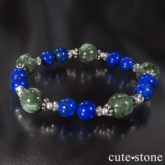 【EARTH COLOR】 セラフィナイト ラピスラズリ 水晶のブレスレットの写真2 cute stone