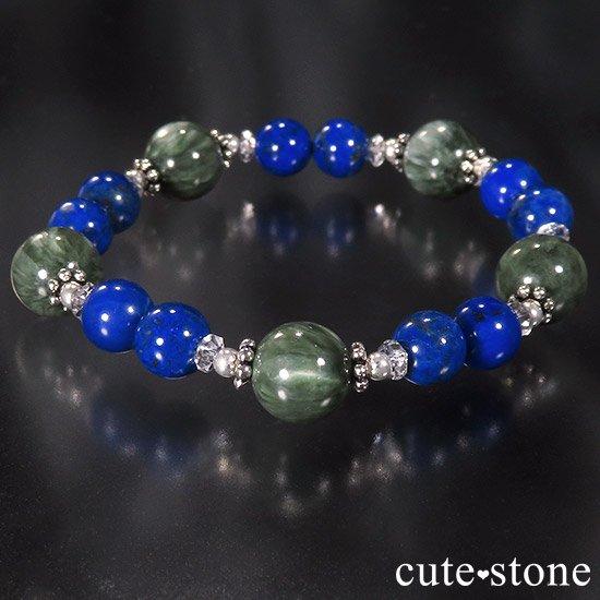 【EARTH COLOR】 セラフィナイト ラピスラズリ 水晶のブレスレットの写真3 cute stone