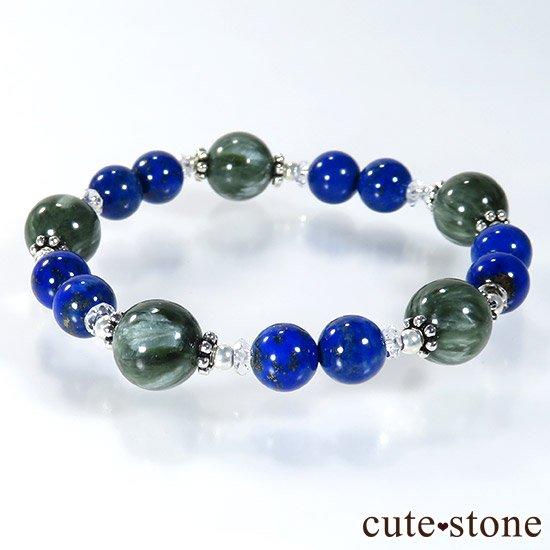 【EARTH COLOR】 セラフィナイト ラピスラズリ 水晶のブレスレットの写真4 cute stone