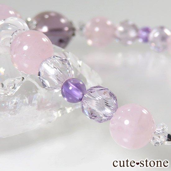 【桜色の季節】 アメトリン モルガナイト アメジスト ミルキークォーツのブレスレットの写真2 cute stone