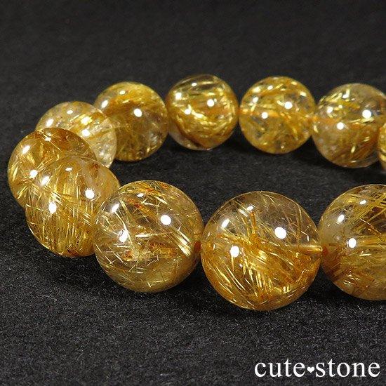 ゴールドルチルインクォーツ(タイチンルチル) AAA シンプルブレスレット 16.5〜17mmの写真0 cute stone