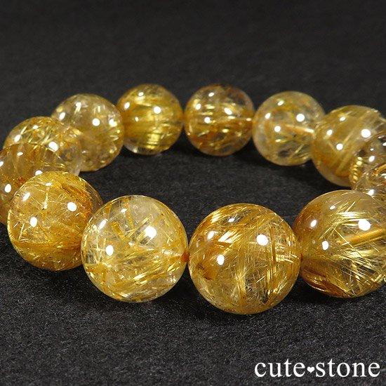 ゴールドルチルインクォーツ(タイチンルチル) AAA シンプルブレスレット 16.5〜17mmの写真1 cute stone