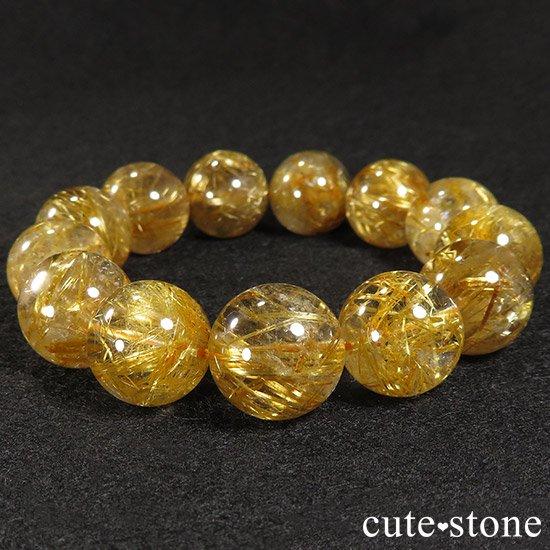 ゴールドルチルインクォーツ(タイチンルチル) AAA シンプルブレスレット 16.5〜17mmの写真2 cute stone