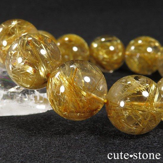 ゴールドルチルインクォーツ(タイチンルチル) AAA シンプルブレスレット 16.5〜17mmの写真3 cute stone