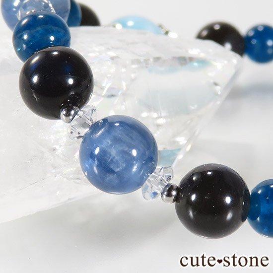 【静かな夜の海】 ラリマー カイヤナイト ブラックラブラドライト ブルーアパタイトのブレスレットの写真3 cute stone