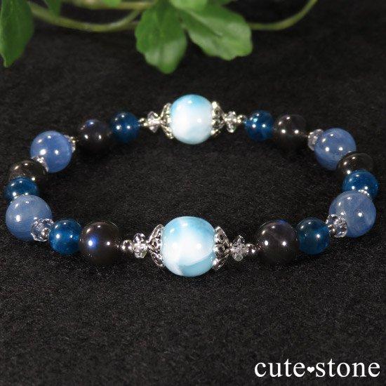 【静かな夜の海】 ラリマー カイヤナイト ブラックラブラドライト ブルーアパタイトのブレスレットの写真5 cute stone