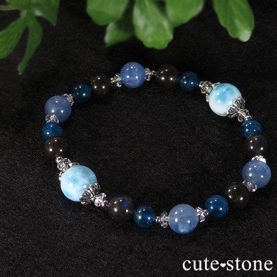 【静かな夜の海】 ラリマー カイヤナイト ブラックラブラドライト ブルーアパタイトのブレスレットの写真6 cute stone