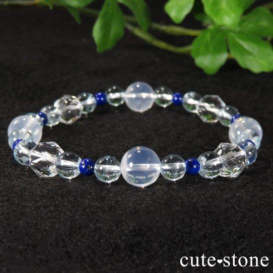 【water magic】 K2ムーンクォーツ ブルートパーズ ラピスラズリ 水晶のブレスレットの写真1 cute stone