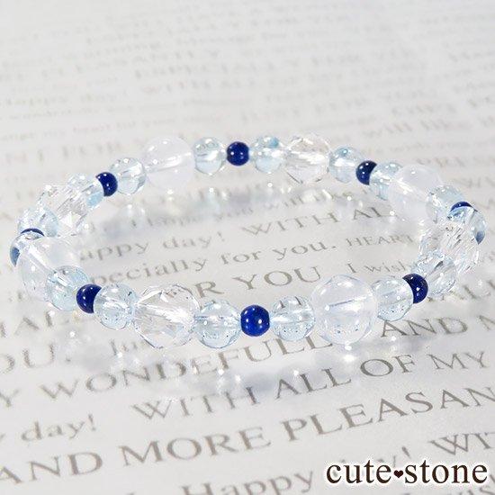 【water magic】 K2ムーンクォーツ ブルートパーズ ラピスラズリ 水晶のブレスレットの写真3 cute stone