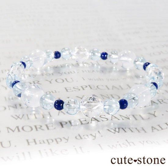 【water magic】 K2ムーンクォーツ ブルートパーズ ラピスラズリ 水晶のブレスレットの写真4 cute stone