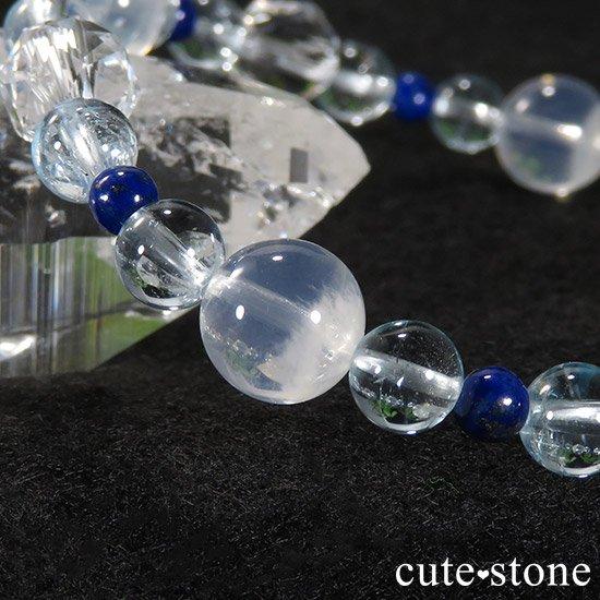 【water magic】 K2ムーンクォーツ ブルートパーズ ラピスラズリ 水晶のブレスレットの写真5 cute stone
