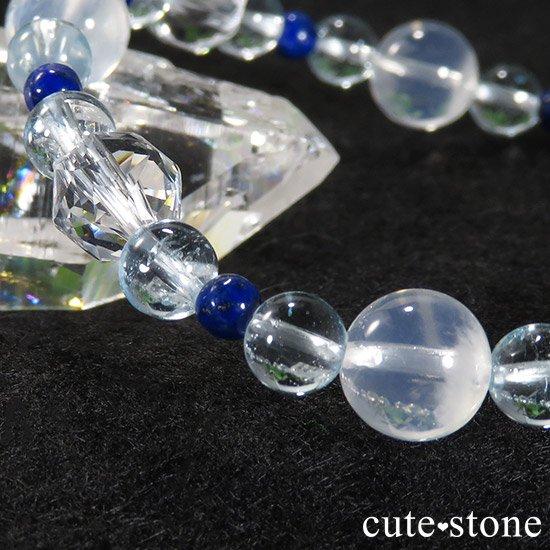 【water magic】 K2ムーンクォーツ ブルートパーズ ラピスラズリ 水晶のブレスレットの写真6 cute stone
