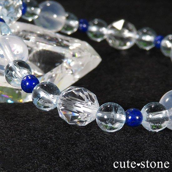 【water magic】 K2ムーンクォーツ ブルートパーズ ラピスラズリ 水晶のブレスレットの写真7 cute stone